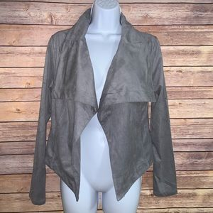 Faux Suede Drape Front Jacket Open